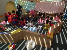 The children used a range of materials to make their camps, including boxes...
